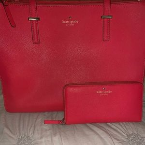 Kate Spade large leather tote with matching wallet